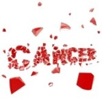 CANCER- word-crashed-and-broken-into-pieces-isolated-on-white