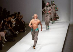 Wang Deshun, who turned 80 this fall, at the China Fashion Week in Beijing last year. Credit Quan Yajun